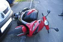 Nehoda motocyklu v Tachově.