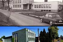 KULTURNÍ DŮM VE STUDÁNCE. Podoba v prvních letech po dokončení výstavby v roce 1976 a současný stav s již vzrostlými stromy.