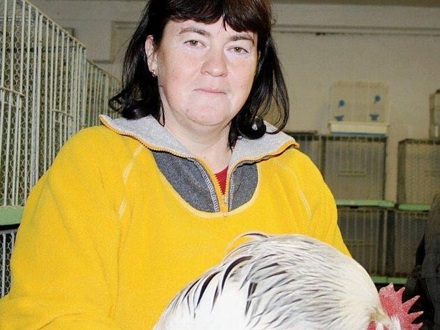 Dana Fecková, jednatelka pořádající organizace, nabízela na chovatelských trzích k prodeji kohouta.