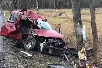 Auto vrazilo do stromu, spolujezdkyni transportoval vrtulník