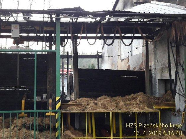 Následky požáru kotelny vPlzeňské ulici vPlané