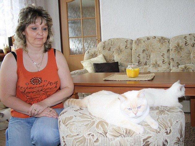 Renata Křišťanová z Tachova se dvěma ze svých osmi kočičích svěřenců. Bony je v popředí.