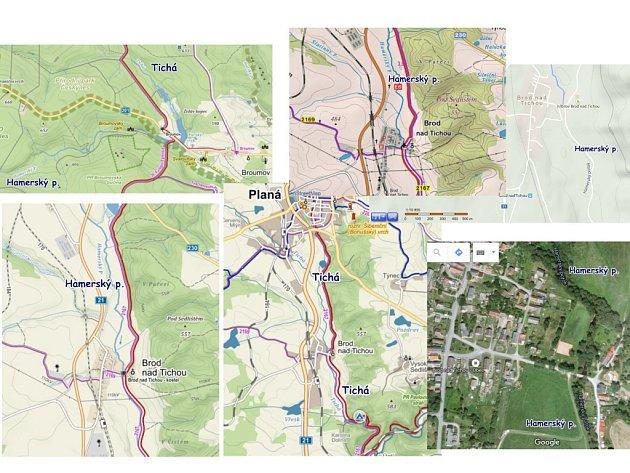 Na současných mapách dostupných na internetu se objevují dva názvy potoka v Brodu nad Tichou. Většinou se uvádí Hamerský potok, ojediněle je pak k vidění i jméno Tichá.