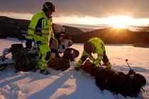Zimní záchranářské cvičení.