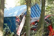 Kamion s kontejnerem havaroval u Plané u Mariánských Lázní.