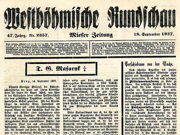 Jediné dochované regionální noviny, které informovaly o smrti Tomáše Garrigue Masaryka a které se našemu spolupracovníkovi ve Státním okresním archivu v Tachově podařilo najít, byly Stříbrské noviny.