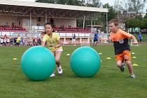 SOUČÁSTÍ NÁBORU do přípravek ve Stříbře byl také dribling s velkým gumovým míčem. Pro děti bylo připraveno celkem čtrnáct stanovišť.