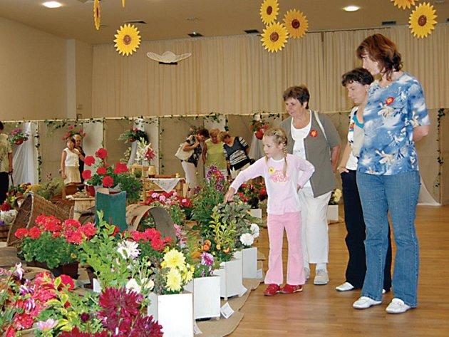 Ve společenském sále kina Mže bylo o víkendu k vidění na 350 druhů květin, z nichž polovinu tvořily jiřiny.