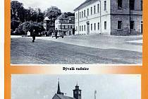 Historická budova radnice s hodinovou věžičkou v Bezdružicích na dobovém snímku ze druhé poloviny dvacátého století.