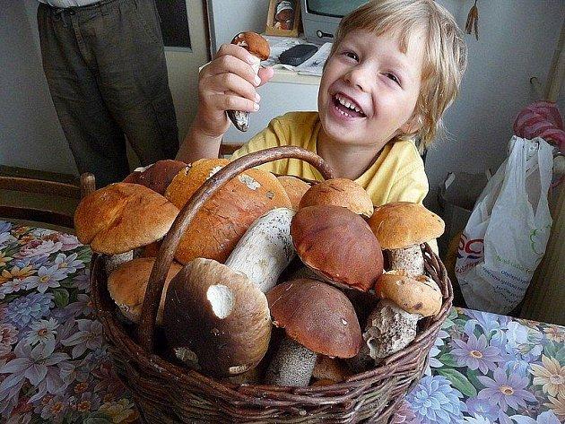 Čtyřletý Matýsek Bártík se pochlubil s houbařským úlovkem svého dědečka.