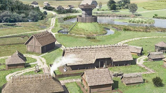 Vizualizace budoucí podoby vesničky z 8. století v historickém parku v Bärnau.