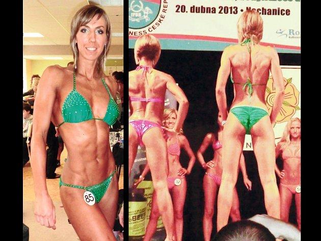 KRÁSA A FEMINITA. Fyzická přitažlivost, fotogeničnost, zdravá a opálená pokožka a celkový kosmetický vzhled jsou jedny z kritérií, jež hodnotí porota při soutěži Bikini fitness, které se věnuje Jana Palečková (v zelených plavkách).
