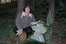 Smírčí kříž v lese nedaleko Kladrub s iniciály G. W.