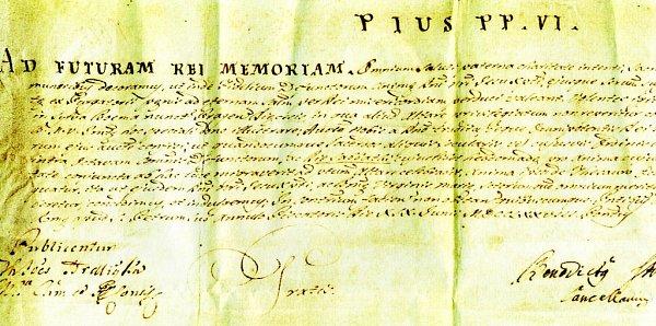 Papežská listina z19. června 1778signovaná papežem Piem VI., která dovolovala sloužit vkostele sv. Apoleny mše za zemřelé kterémukoli knězi jakéhokoli řádu.