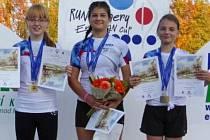 Vítězná štafeta v kategorii žen Evropského poháru v Novém Městě nad Metují. Markéta Andrlová vpravo.