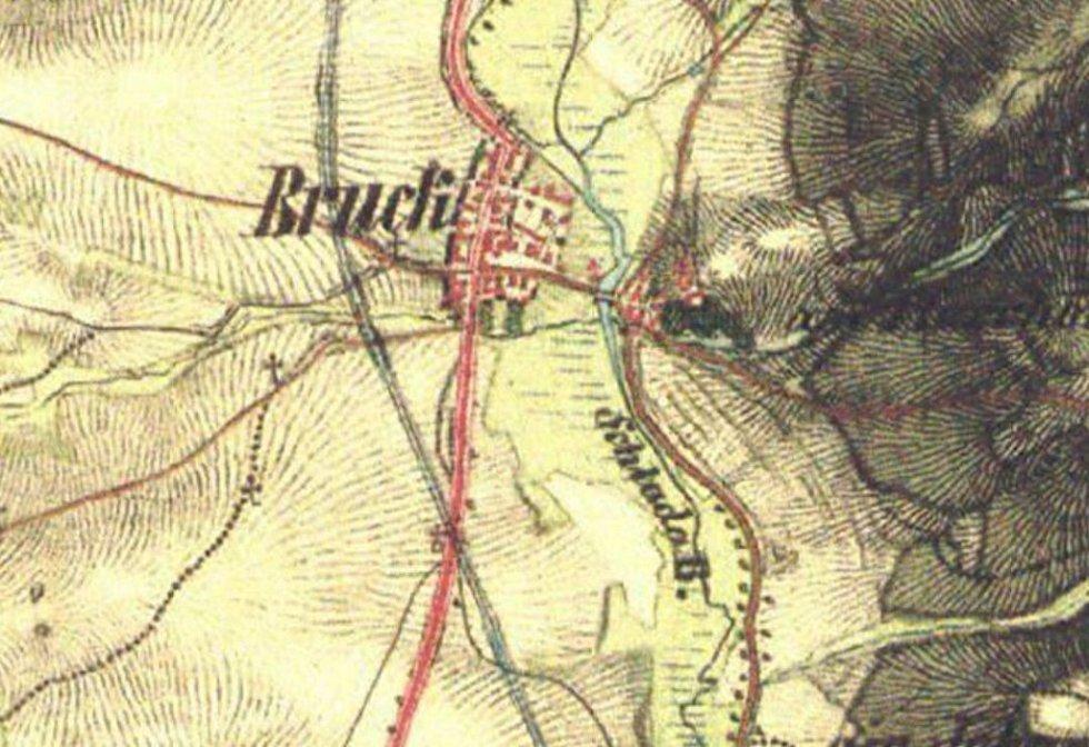Mapa z II. vojenského mapování uvádí název potoka v Brodu jako Schlada B.