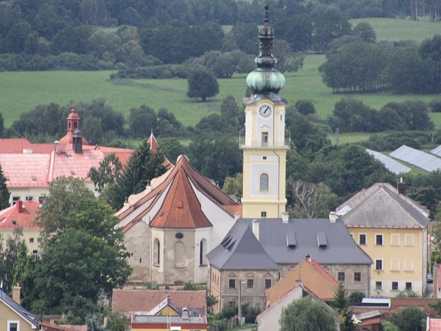 věž kostela v Plané