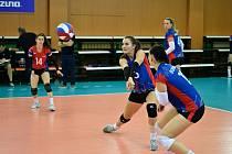 Hodanová na příjmu v zatím posledním extraligovém utkání Olympu proti VK Brno.