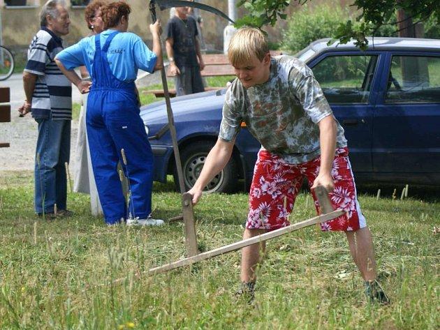 Na druhý ročník soutěže v sekání kosou přijela do Vítkova u Tachova více než dvacítka účastníků.