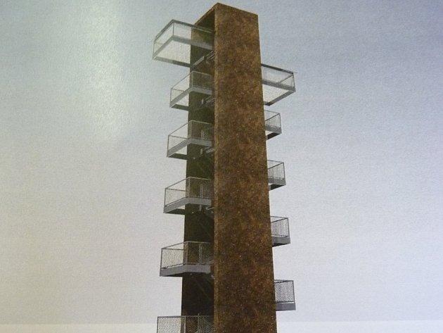 Jeden z návrhů, jak by rozhledna na Vlčí hoře mohla vypadat. Další návrhy budou v nejbližší době ještě vypracované.