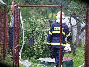 Hasiči zlikvidovali požár skleníku v zahrádkářské kolonii u Ctiboře.