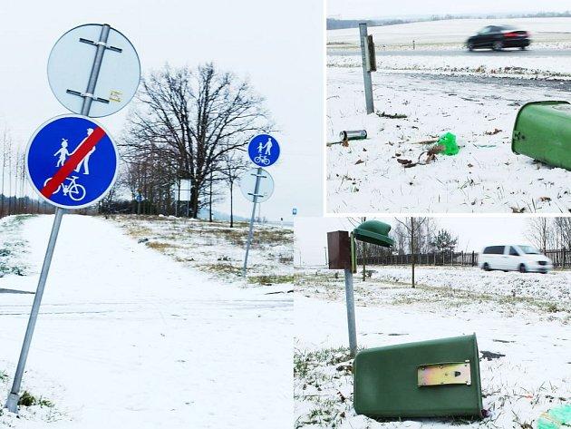 VANDALOVÉ řádí pravidelně na stezce mezi Chodovou Planou a Planou. Takto například dopadly odpadkové koše a dopravní značky po silvestrovských oslavách.