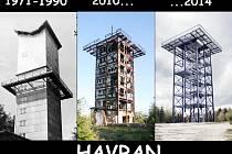 TŘI ETAPY VĚŽE. Snímek vlevo ukazuje, jak vypadala vojenská hláska v době, kdy byla obsazena vojáky. Poté, co ale vojáci odešli, začala devastace věže (snímek uprostřed). Dnes je bývalý vojenský objekt přestavěn na rozhlednu.