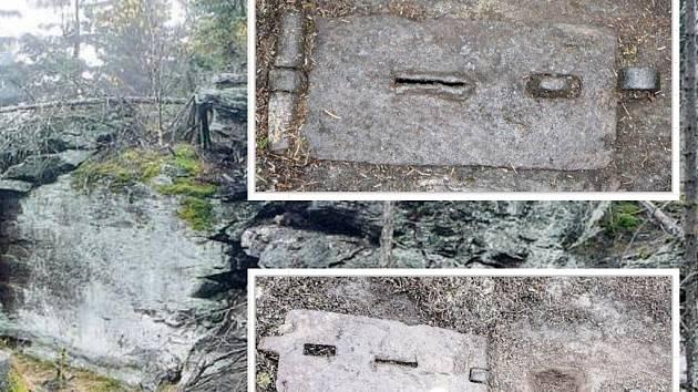 SCHRÁNKY NA MINCE? Na snímku je skalisko u Dyleně, kde se nachází kovové uzamykatelné schránky. Ve výřezu je pak zobrazena schránka uzavřená a otevřená.