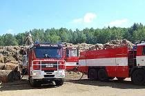 Požár stohu likvidovali v úterý dopoledne hasiči v areálu soukromé firmy v Chodové Plané