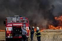 Požár pole u Těchlovic na Tachovsku.