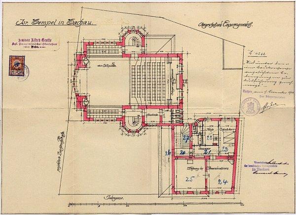 Různé pohledy a část plánu tachovské synagogy.