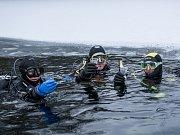 O první novoroční přípitek se postarali tachovští potápěči, kteří si připili zaručeně vychlazeným sektem přímo u ledu, kde se stalově rozloučili s končícím rokem. Zleva : Alena Povová, Jiří Kotschy, Zdeněk Jelínek.