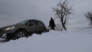 Sněžení a nehody 14.1.