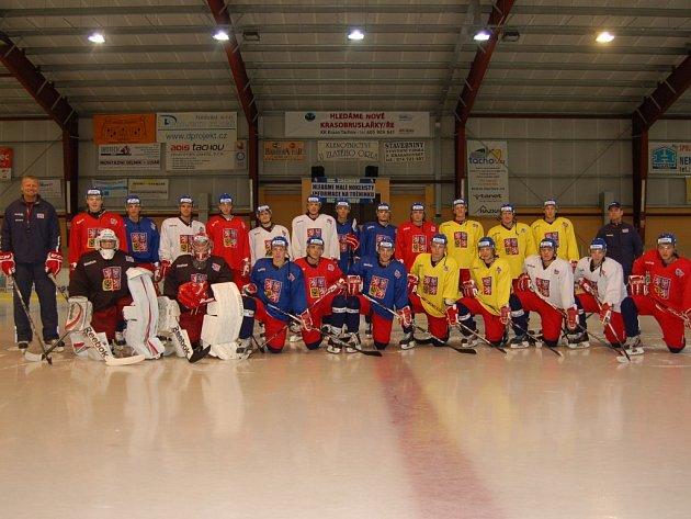 Česká hokejová reprezentace do 19 let na soustředění na zimním stadionu v Tachově.