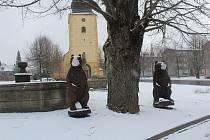 Zasněžené náměstí 19. března 2021 v Přimdě.