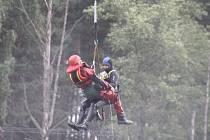 Hasiči se v pátek zúčastnili tématického cvičení na Dlouhém rybníce v Boněticích.