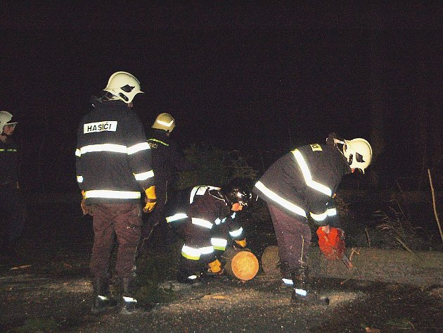 Také přimdští dobrovolní hasiči měli o víkendu plné ruce. Zastihli jsme je při odstraňování lesního porostu z vozovky poblíž hraničního přechodu v Rozvadově.