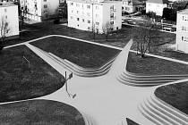 Studie k využití volného prostoru na sídlišti v Plané využívá stávající vyšlapané cestičky. Uprostředn pavouka je prostor pro venkovní hry.
