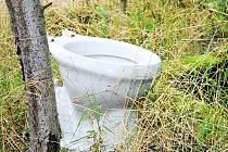 SEZÓNNÍ HOUBAŘSKÉ SOCIÁLNÍ ZAŘÍZENÍ? Nikoli, jen někdo odvezl do lesa několik kilometrů za Tachov nepotřebný záchod. Proč s ním spíš nevážil kratší cestu do sběrného dvora zůstává otázkou. Většina starostů však tvrdí, že černých skládek ubývá.
