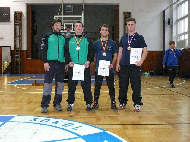 Stříbrští zápasníci: (zleva) Tomáš Adam, Lukáš Adam, Jan Matějka a Daniel Janda.