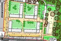 Plánek domova pro seniory, který má vyrůst v Boru v zámeckém parku.