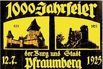 DOBOVÝ POUTAČ NA OSLAVY. Ve filmu Hrad Přimda se objeví řada dobových vyobrazení, jako plakát (výřez na snímku), který v roce 1925 zval k oslavě domnělého tisíciletého výročí hradu. Tehdy se sešlo na dvacet tisíc návštěvníků.