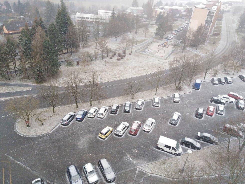 Sněhová nadílka v Tachově.