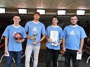 Vítězný tým studentů, na snímku zleva Rudolf Blatnický, Marek Prášil, Jakub Sýkora  a  Jaroslav Řasa.  Foto: A. Sýkorová