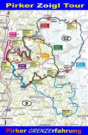Mapa tras cyklistické akce