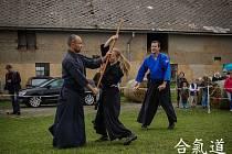 Členové klubů aikido a bujinkan při exhibici na Kříženci.