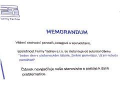 Vedení firmy Formy  Tachov vydalo  memorandum, ve kterém vysvětlují nastalou situaci s autorstvím článku o běžencích.