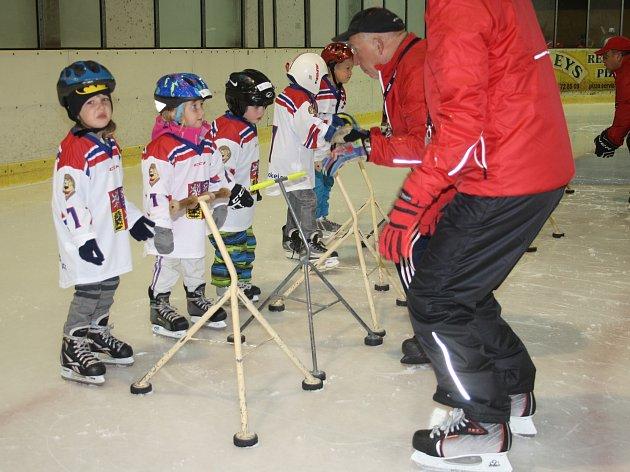 Trenéři ukázali dětem základní hokejové pohyby.