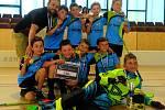 Vítězná sestava klubu Florbal Tachov modří.