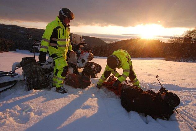 Zimní záchranářské cvičení